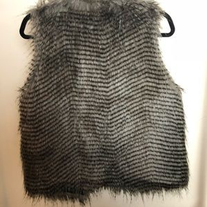 Black/Gray Faux Fur Vest
